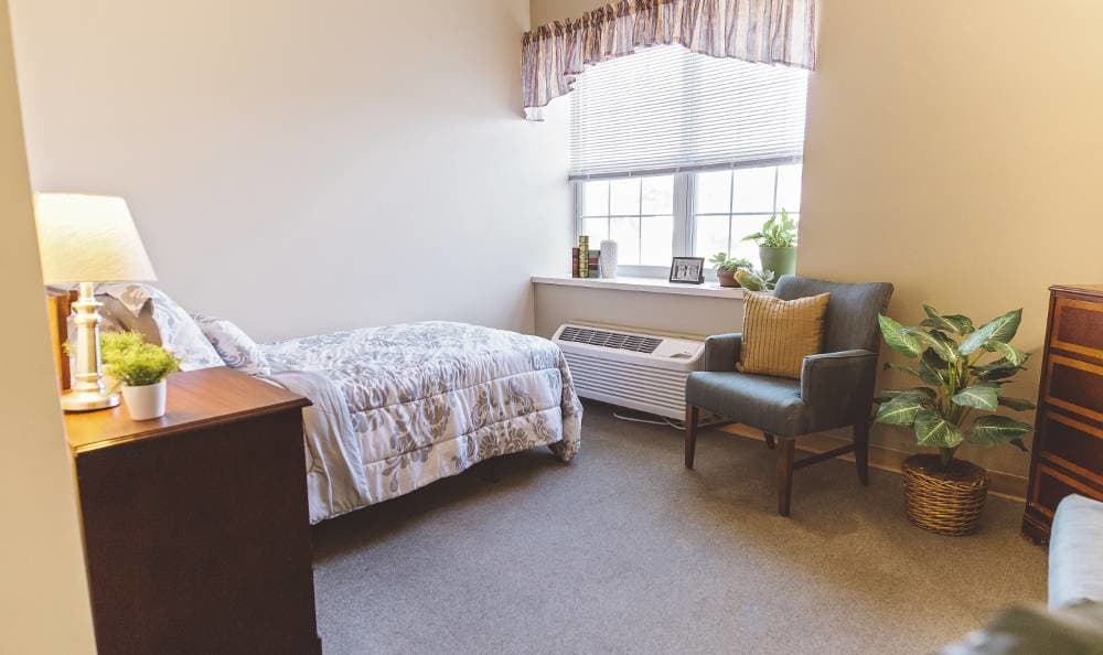 bedroom with wonderful view at Broadmore Senior Living at Hagerstown in Hagerstown, MD