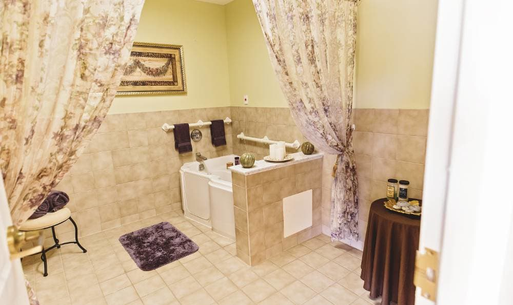 Private bathroom in our floor plans at Broadmore Senior Living at Hagerstown