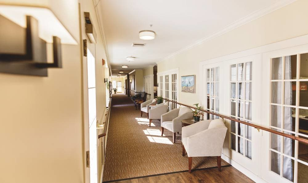 Couches around your hallway in Broadmore Senior Living at Hagerstown