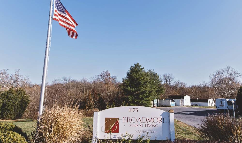 Main sign to Broadmore Senior Living at Hagerstown