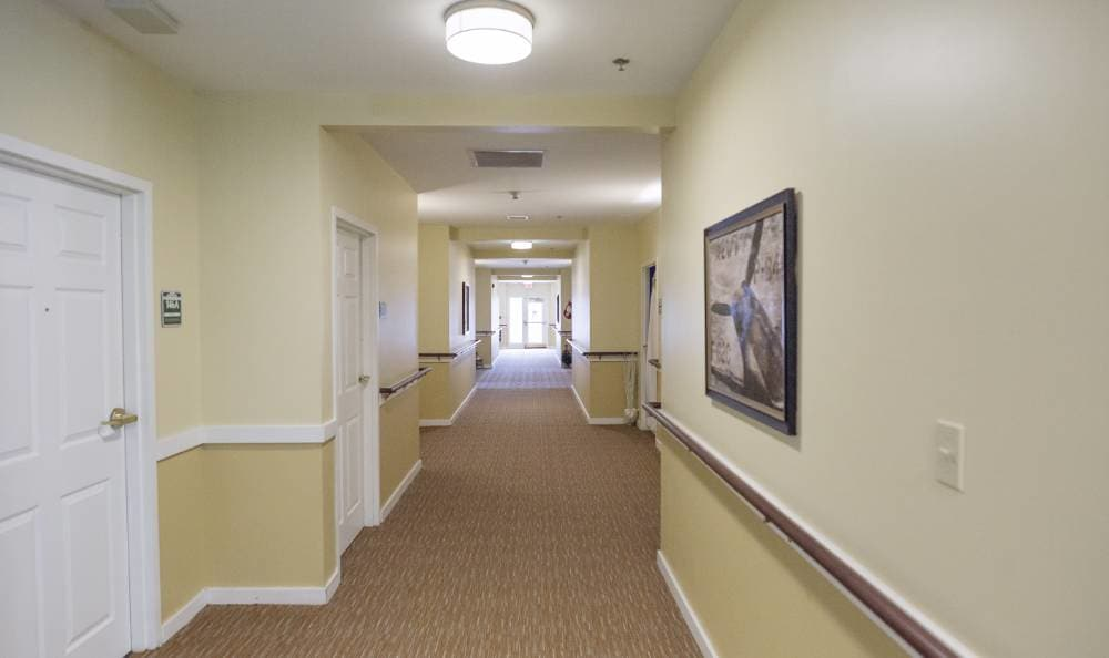 Hallway through our building at Broadmore Senior Living at Teays Valley