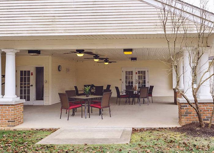 outdoor gathering area at Broadmore Senior Living at Teays Valley