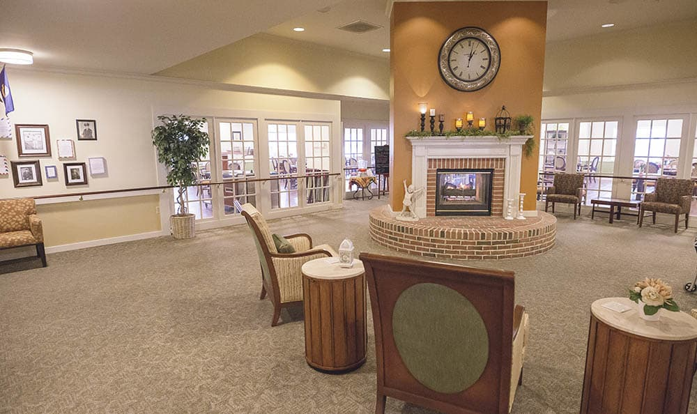 fireside relaxation at Broadmore Senior Living at York