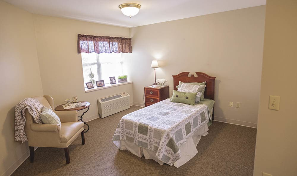 individual bedroom at Broadmore Senior Living at York