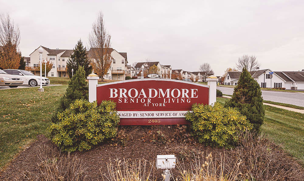 Broadmore Senior Living at York exterior signage