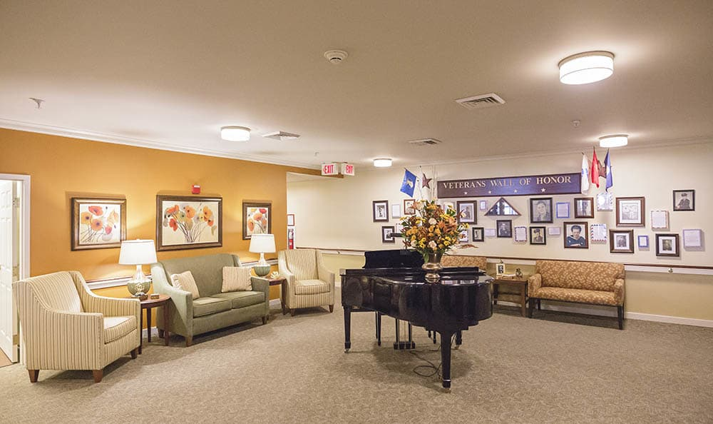 piano room at Broadmore Senior Living at York