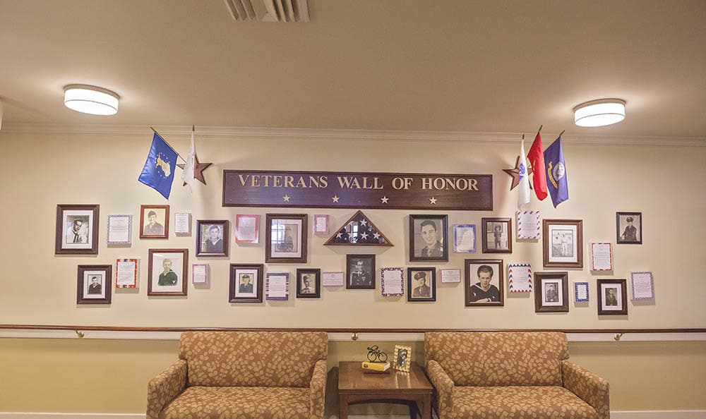 veterans wall of honor at Broadmore Senior Living at York