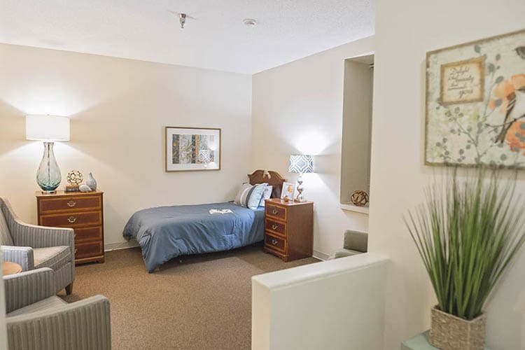 Bedroom At Broadmore Senior Living at Johnson City Small
