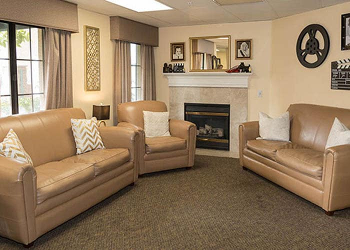 Westminster Terrace Assisted Living Community fireplace seating