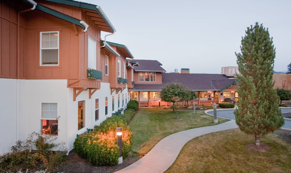 Sunny courtyards at Mountain Meadows Senior Living Campus