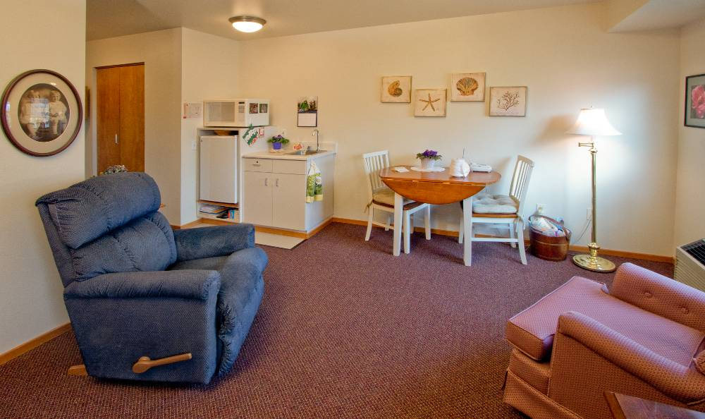 Comfy couche for our residents ar Mountain Meadows Senior Living Campus