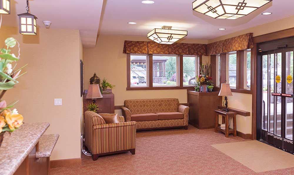 Memory care entrance at The Lodge at Mallard's Landing in Gig Harbor, WA