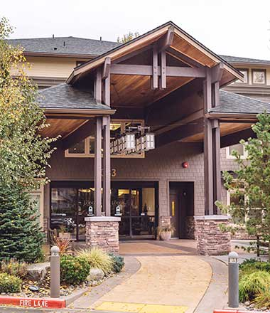 Front entrance at The Lodge at Mallard's Landing