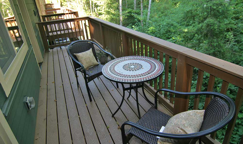 Back deck at The Lodge at Mallard's Landing in Gig Harbor, WA