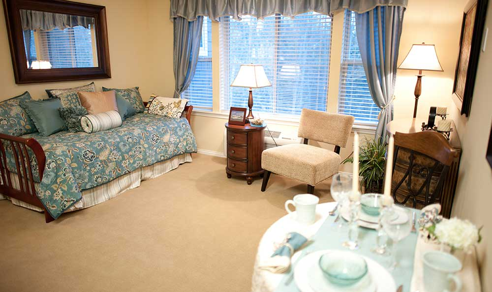 Bedroom at The Lodge at Mallard's Landing.
