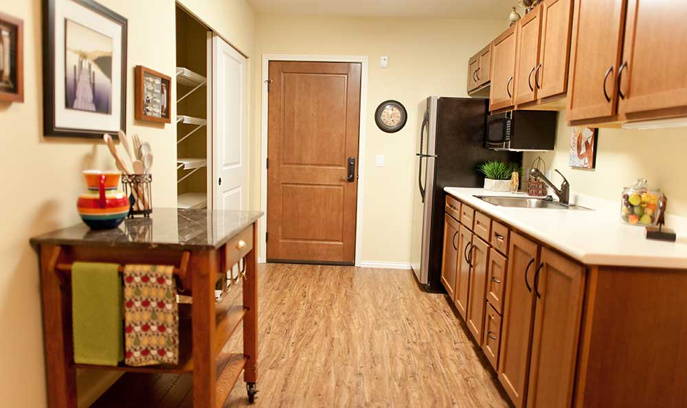 Assisted living kitchen at The Lodge at Mallard's Landing.