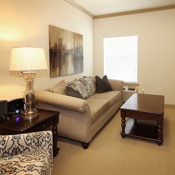 Neutral colored apartments are soothing to seniors in Texas
