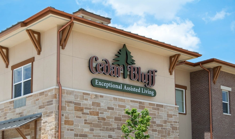 Community sign of Cedar Bluff Assisted Living & Memory Care