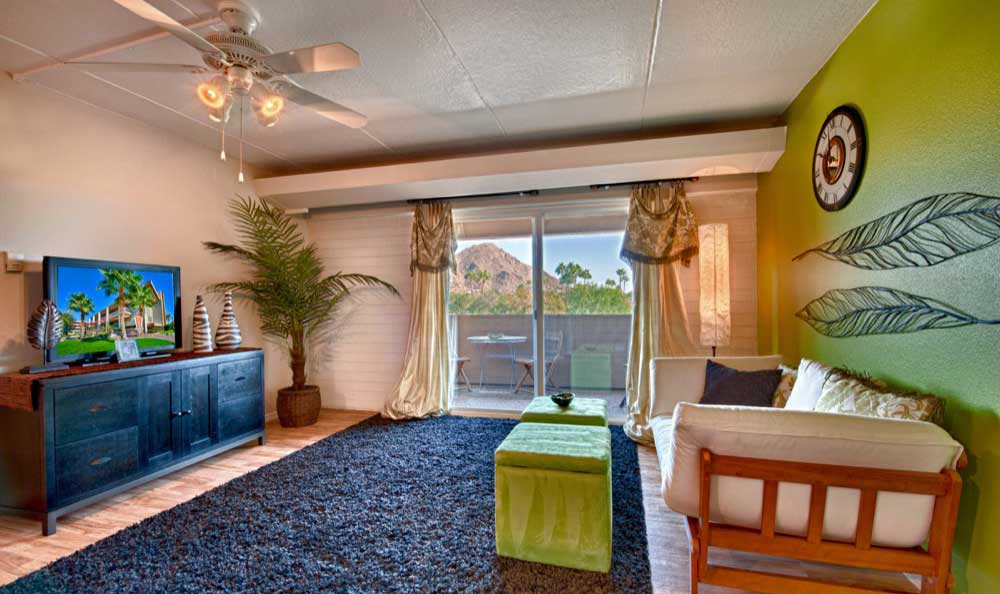 Phoenix apartments includes living rooms with attached patios