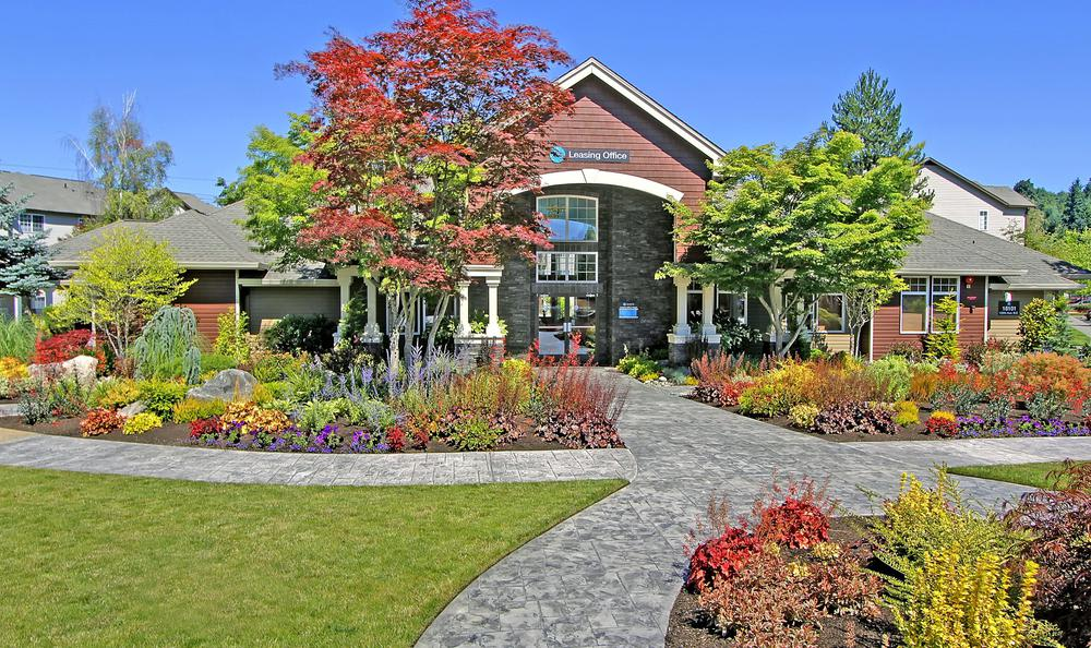 leasing office with beautiful garden at Avana 522 Apartments in Bothell, WA