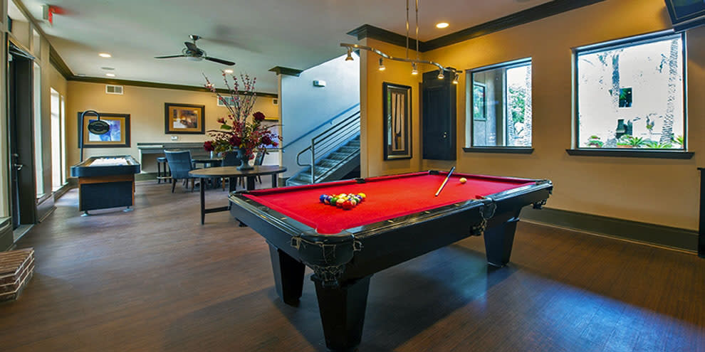 Pool table at The Westmore at Bellaire Apartments