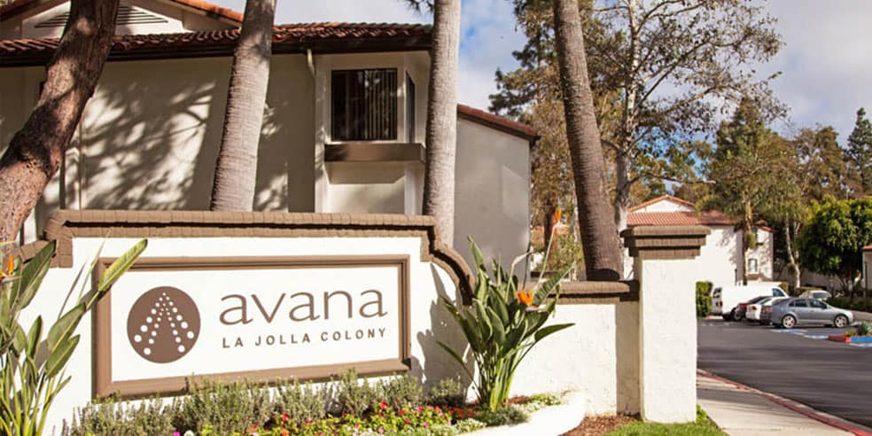 Signage at Avana La Jolla Apartments