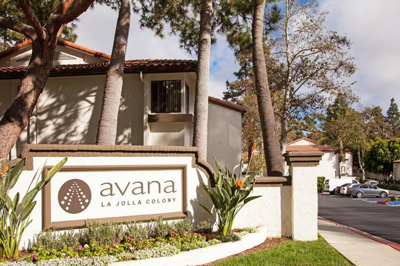 Entrance Sign at Avana La Jolla Apartments in San Diego, CA