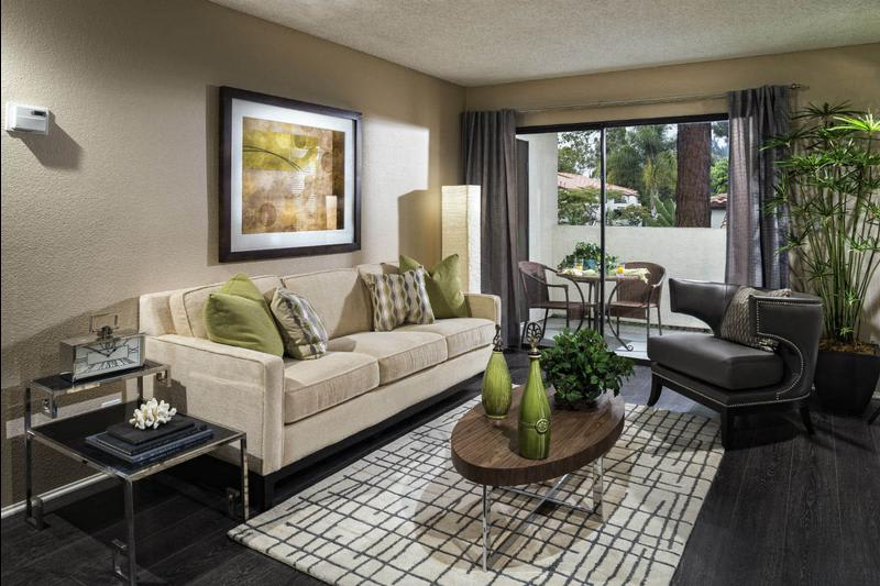 Living Room With Large Window at Avana La Jolla Apartments in San Diego, CA