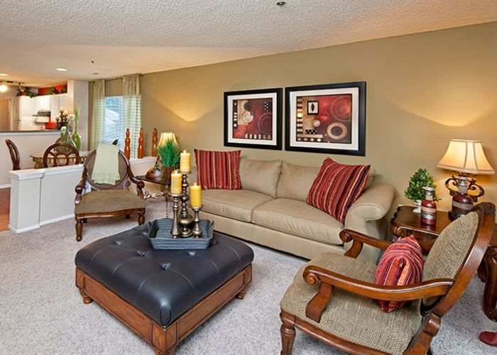 Living room at Jefferson Lakeside Apartments in Marietta
