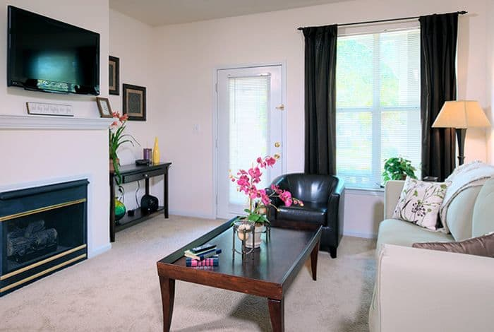 Living room at Edinborough Commons Apartments in Raleigh