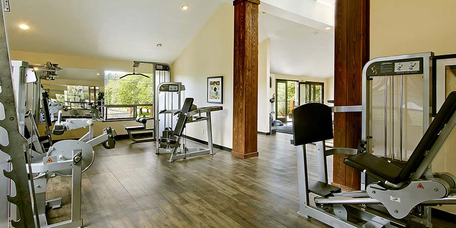 Fitness center at The Mill at Mill Creek Apartments
