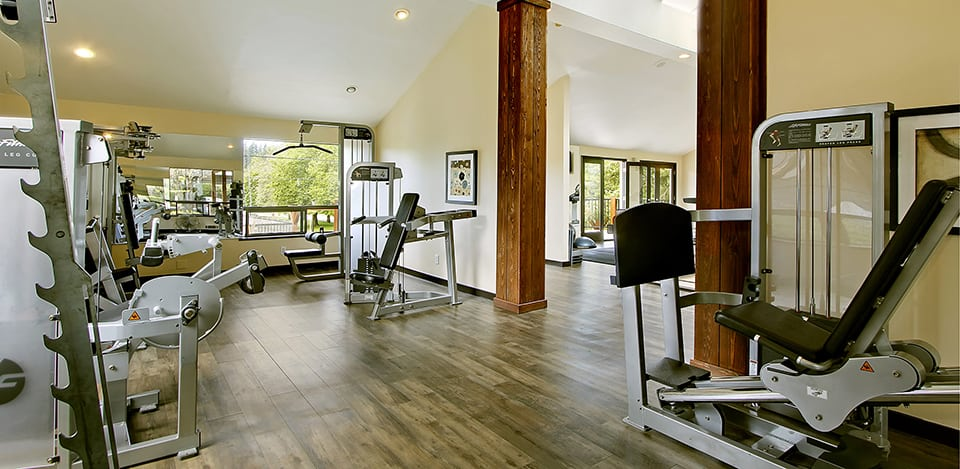 Stay fit and active at the gym located on-site at The Mill at Mill Creek Apartments