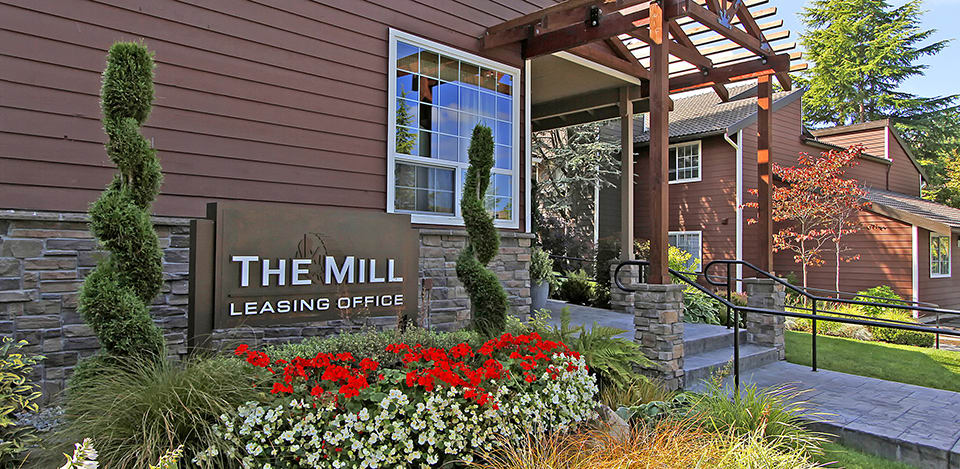 The leasing office at The Mill at Mill Creek Apartments