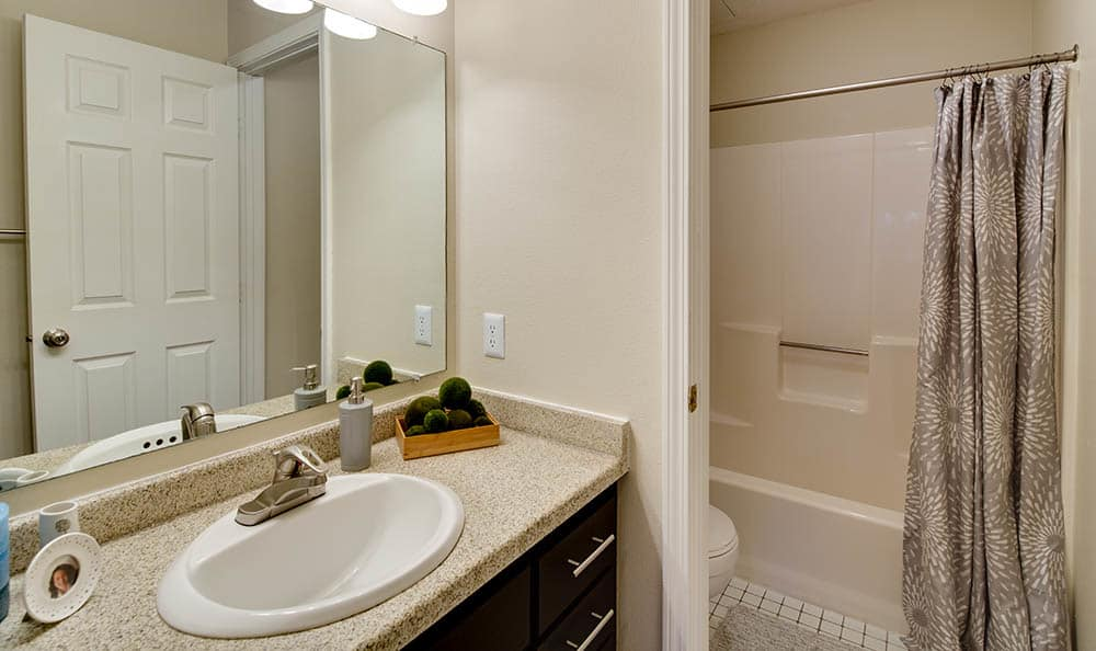 Master bathroom at Avana on Seven Apartments