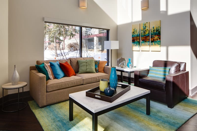 Spacious living room at Avana on Seven Apartments