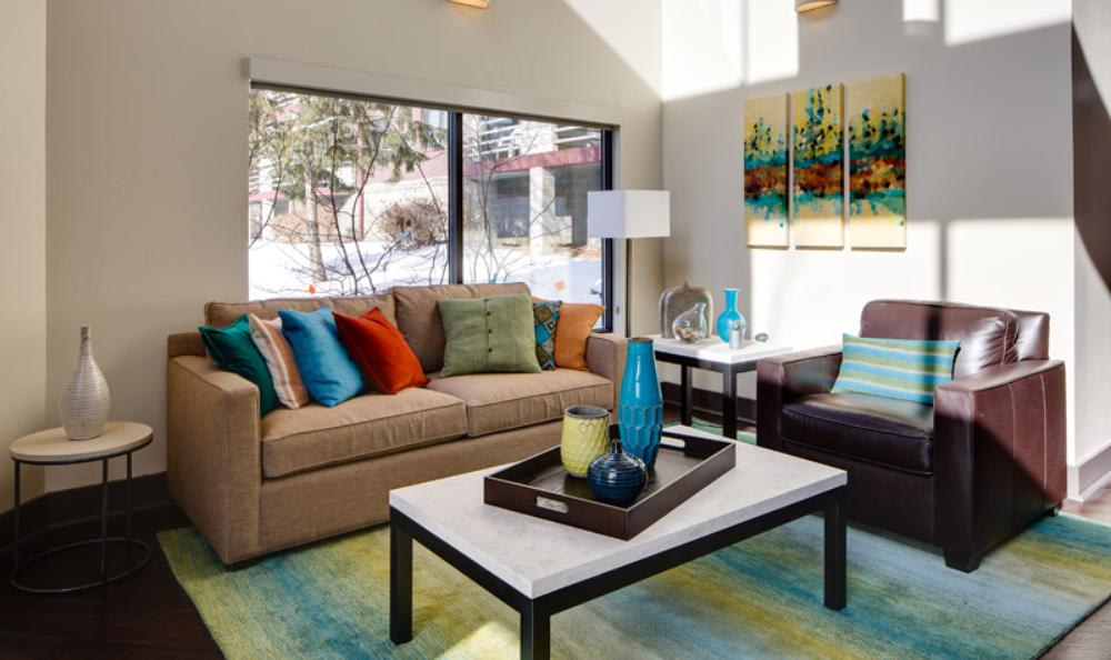 Well Decorated Living Room at Avana on Seven Apartments in St Louis Park, MN