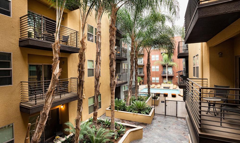 Apartments Building Courtyard at Avana North Hollywood Apartments in North Hollywood, CA