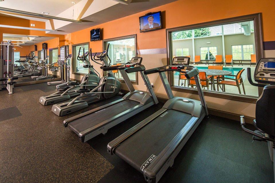Fitness center at Avana Abington Apartments in Abington