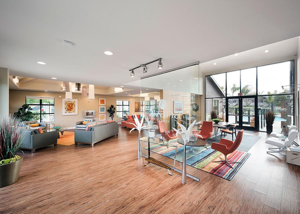 Clubhouse living room at Avana Skyway Apartments in San Jose