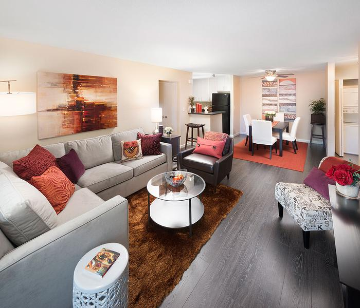 Living room at Avana Skyway Apartments in San Jose