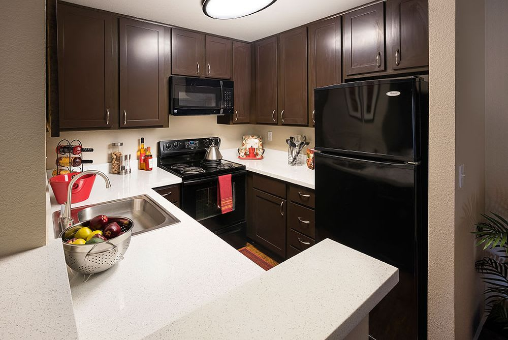 Fully equipped kitchen at Avana Skyway Apartments in San Jose, CA