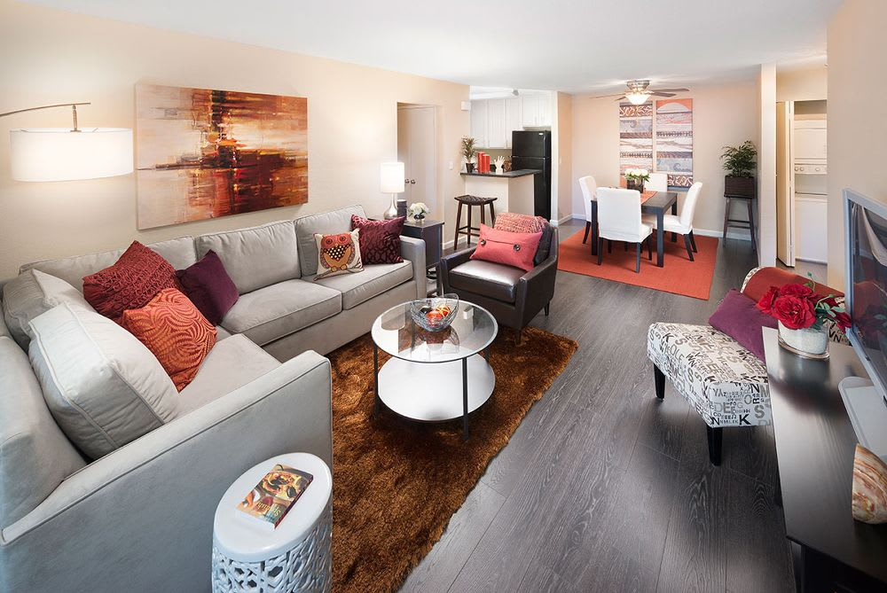 well decorated living room at Avana Skyway Apartments in San Jose, CA