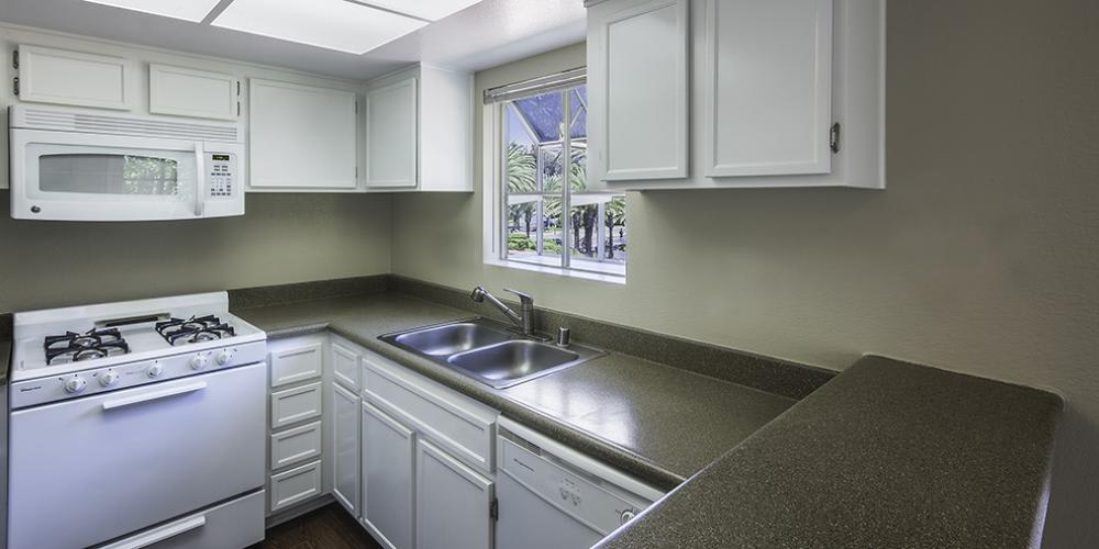 Fully Equipped Kitchen at Sunset View Apartments in Oceanside, CA