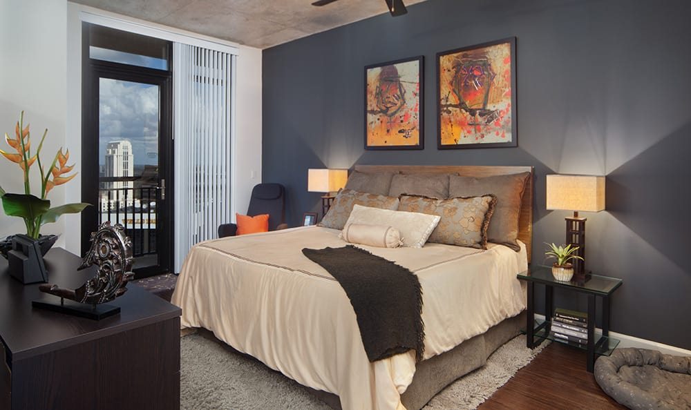 Another gorgeously appointed bedroom at 55 West Apartments