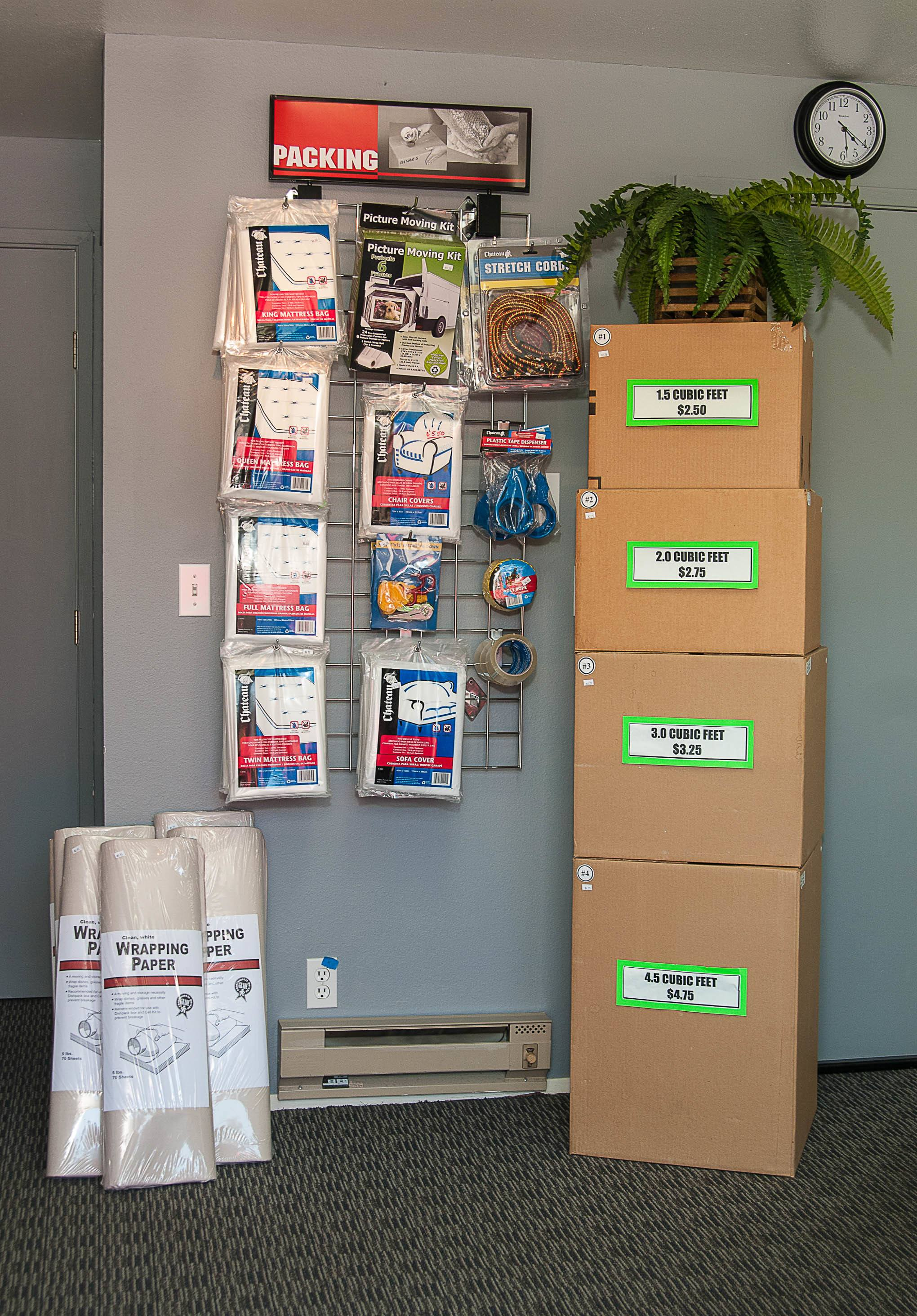 Packing supplies here at Reliable Storage