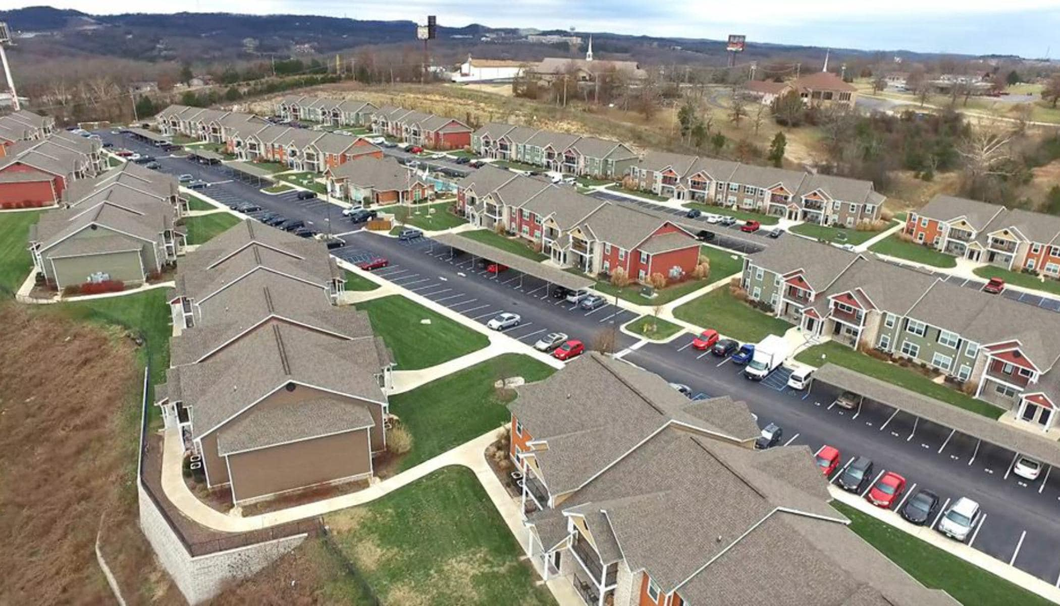 Aerial view of our apartments at Bee Creek Apartments in Branson, MO