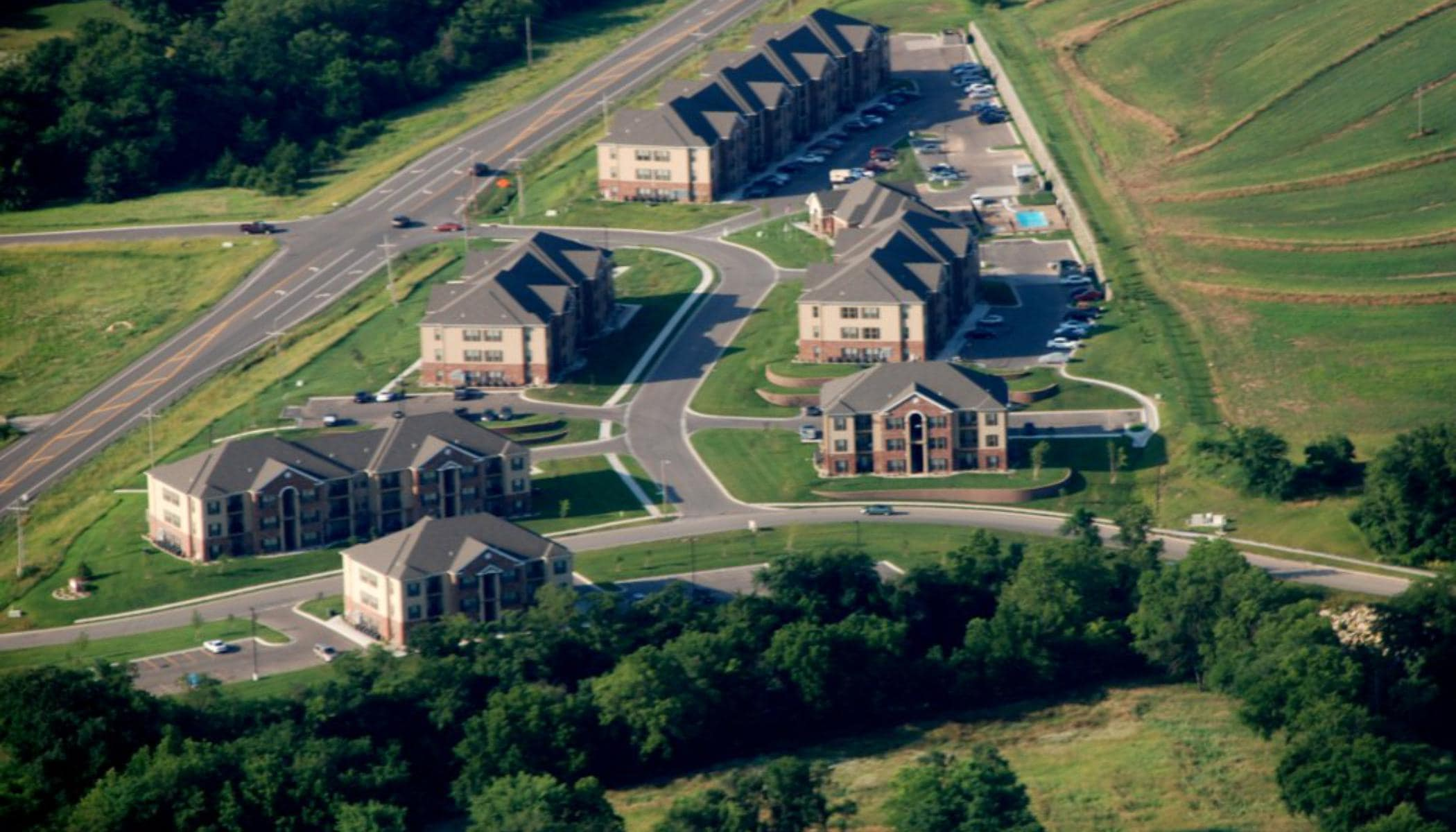 Aerial view of Highland Ridge Apartments in Manhattan, KS