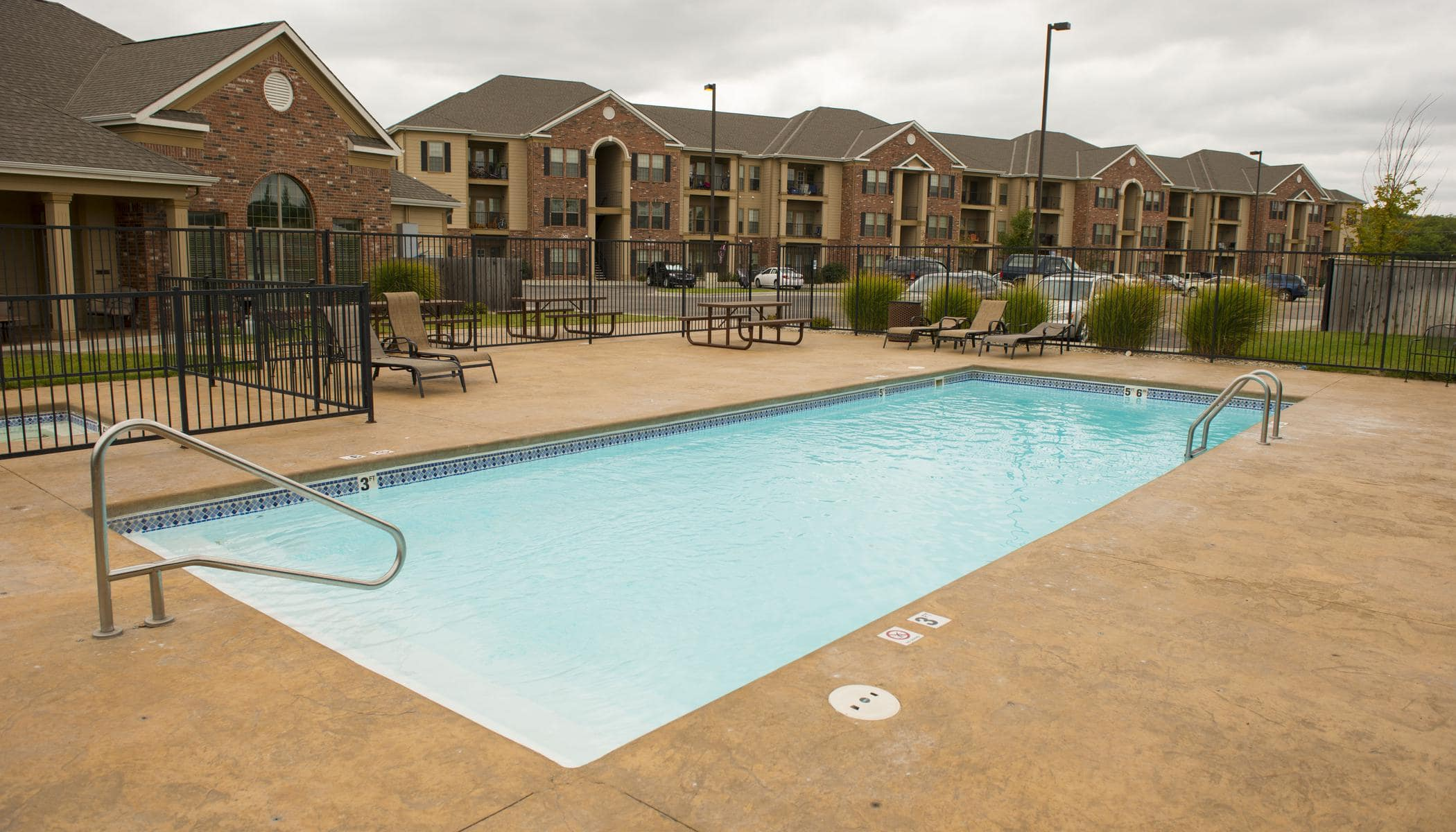 Beautiful swimming pool at apartments in Manhattan, KS