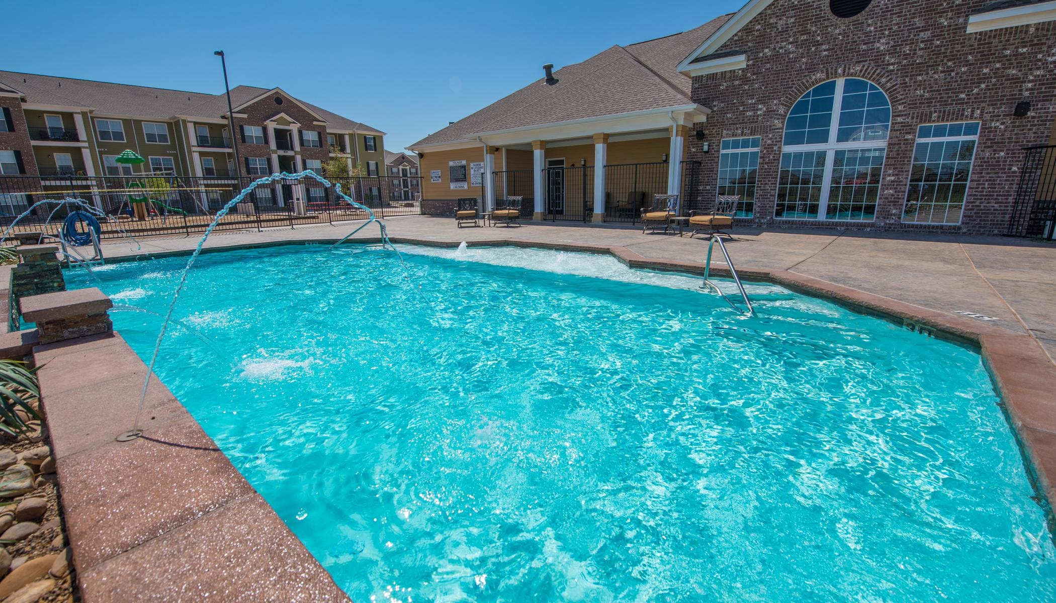 Unique swimming pool at apartments in Lubbock, Texas