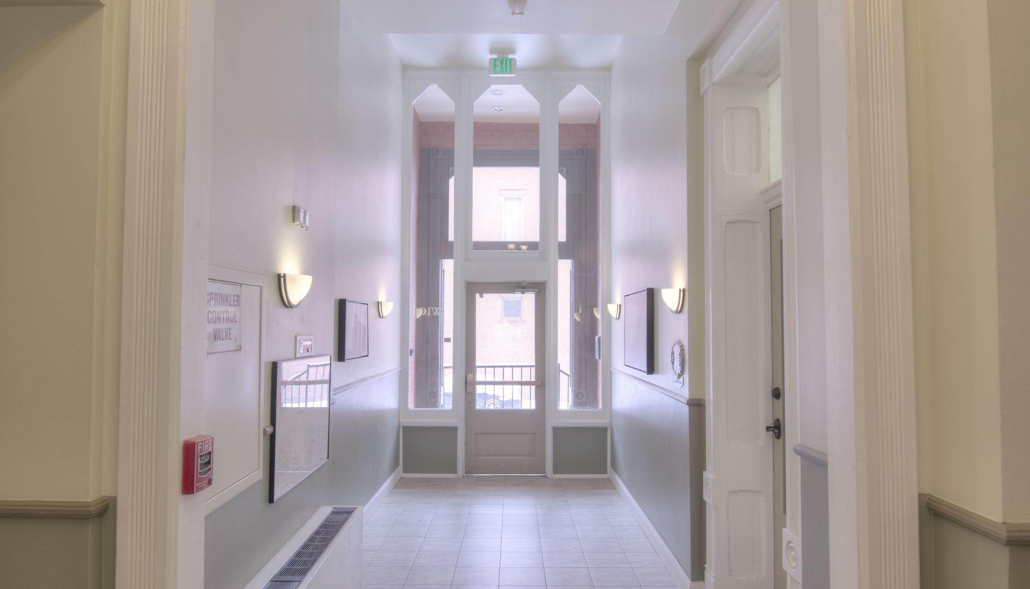 View of the entryway from the inside at Tabor Grand Hotel Apartments